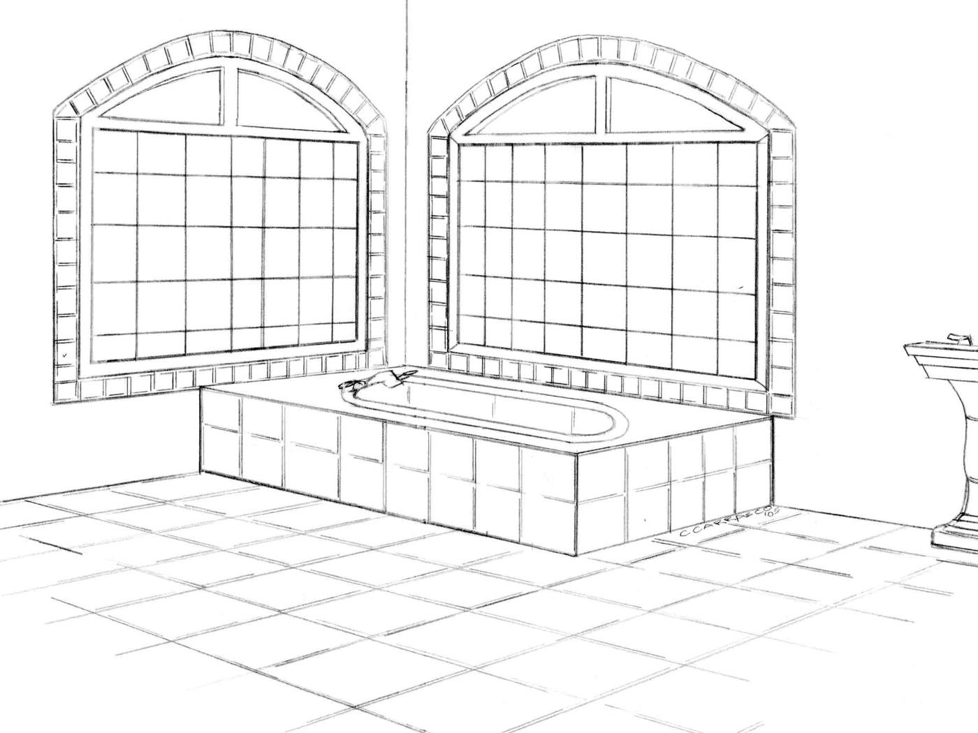 carleen carrasco illustrations by hand by carleen carrasco at Glass Dog Tile master bathroom spanish colonial perspective drawn by hand in pencil before rendered