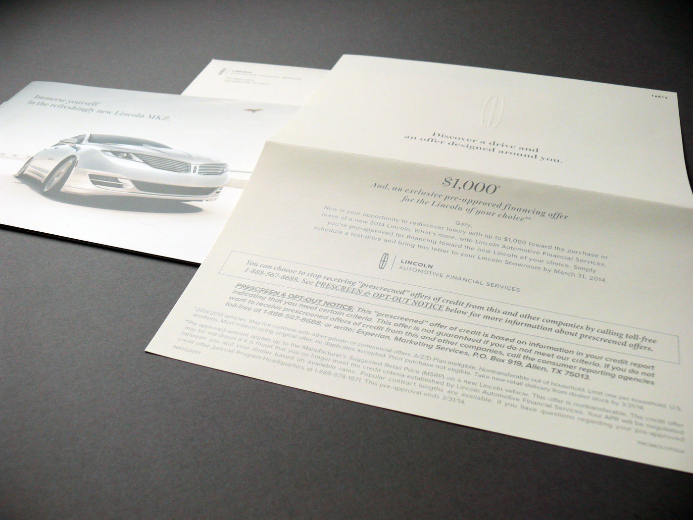 Lincoln Automotive Financial Services Direct Mailer By Izabela