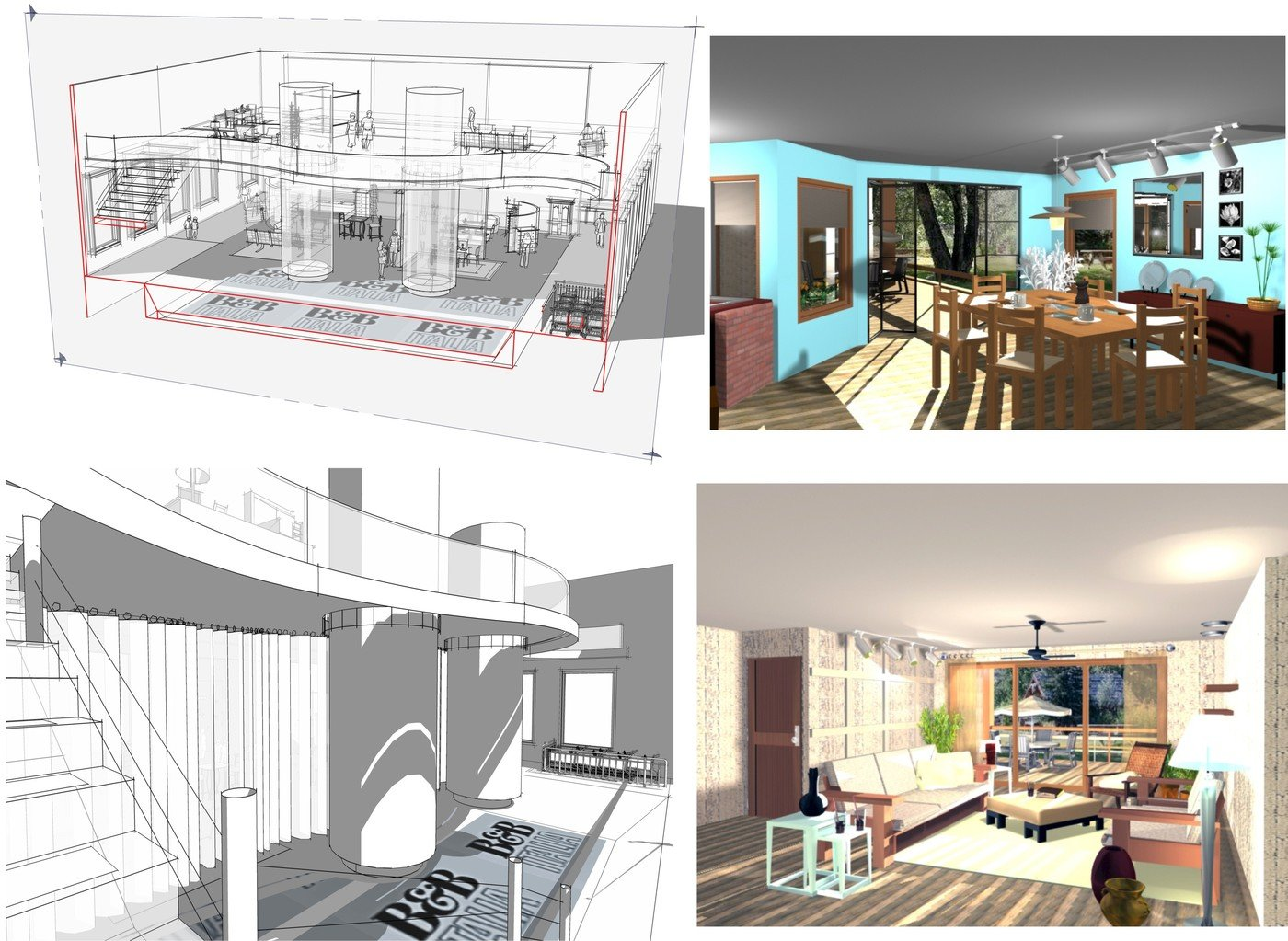 Collages Of Design Work 1   Bottom Left/top Left, Design Of Bu0026B Italia  Showroom. Perspective U0026 Cut Through Of 1st U0026 2nd Floors Google  SketchUp/Photoshop.