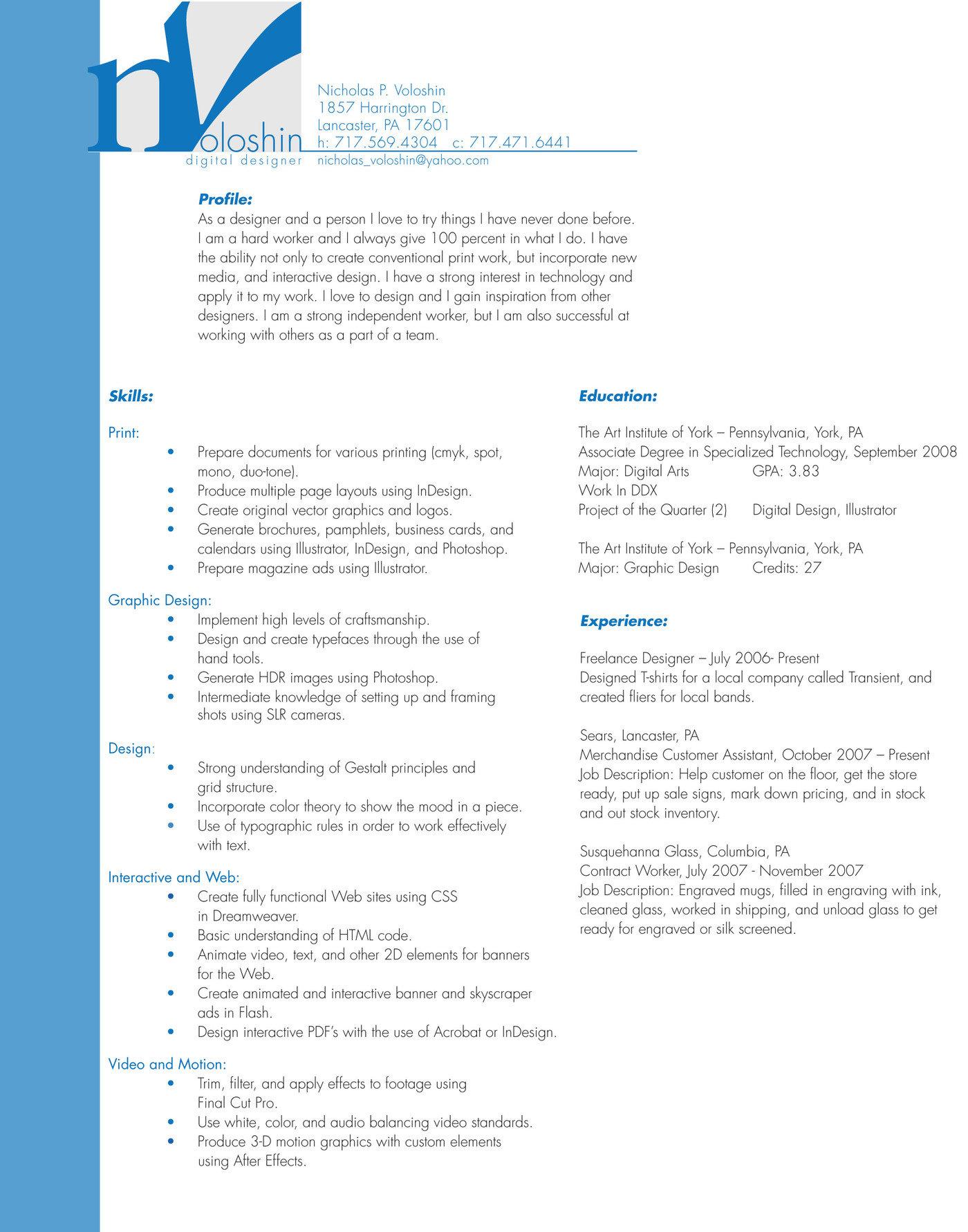 Resume by Nicholas Voloshin at Coroflot com