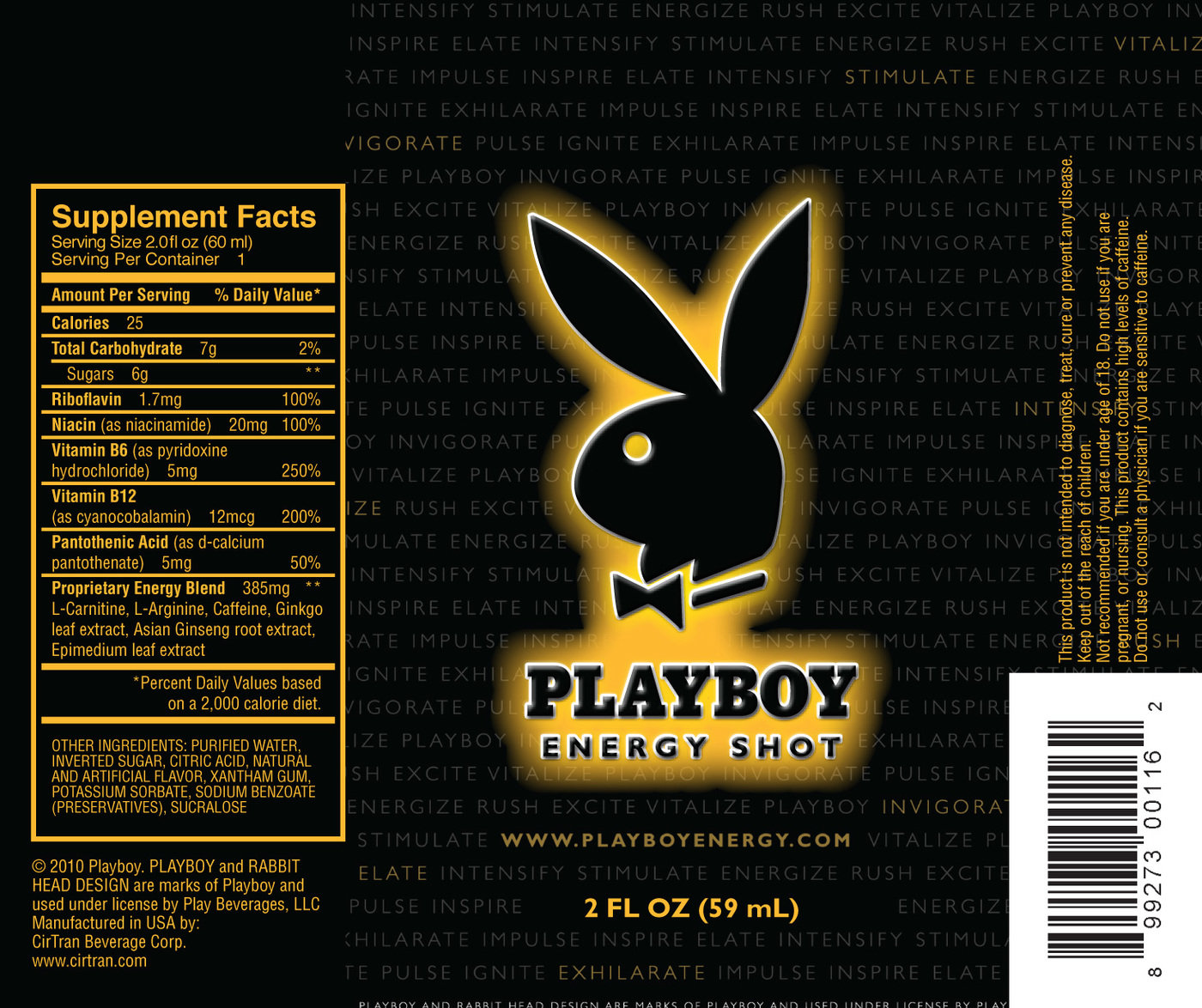 Playboy energy shot label various pieces for marketing promotional materials and branding