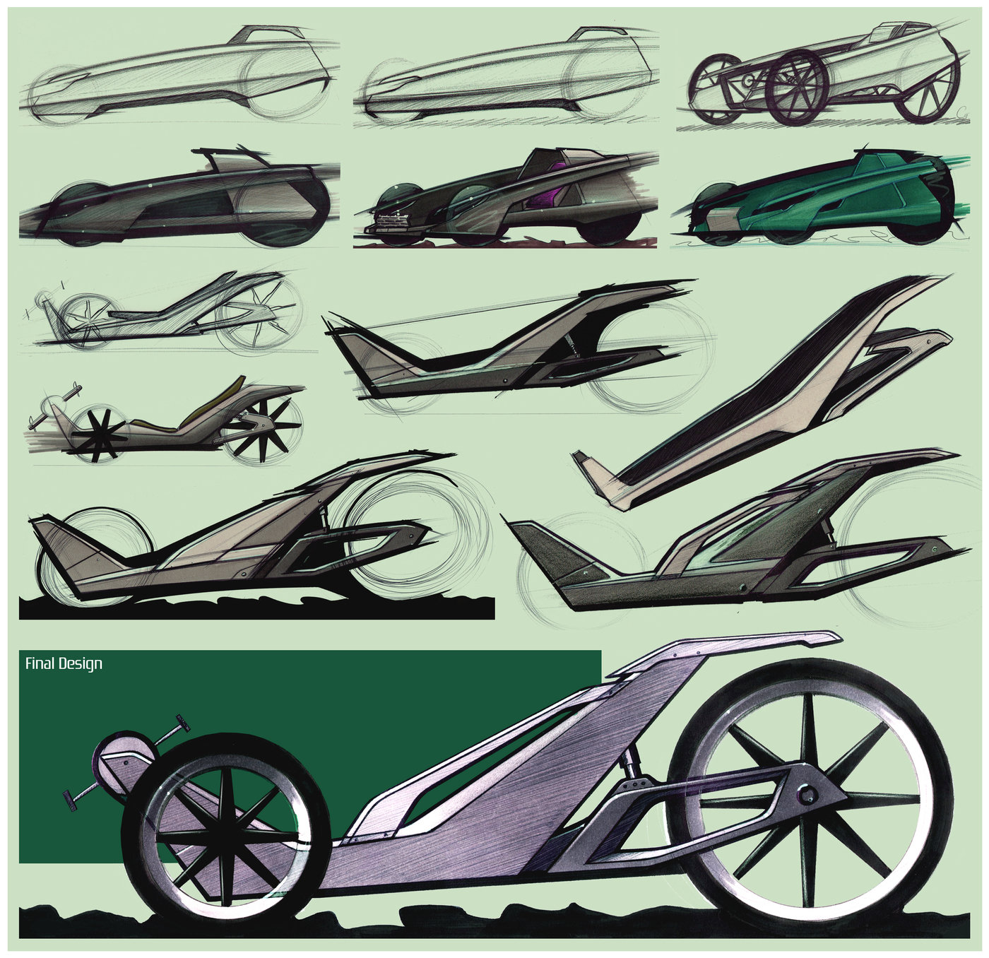 Land Rover Xr 3 Recumbent Bike By David Gilmore At Belt Routing A Selection Of Early Sketch Work The Concept Can Be Clearly Seen Progressing From Larger Go Kart Type Downhill Racer To More Elegant Layout