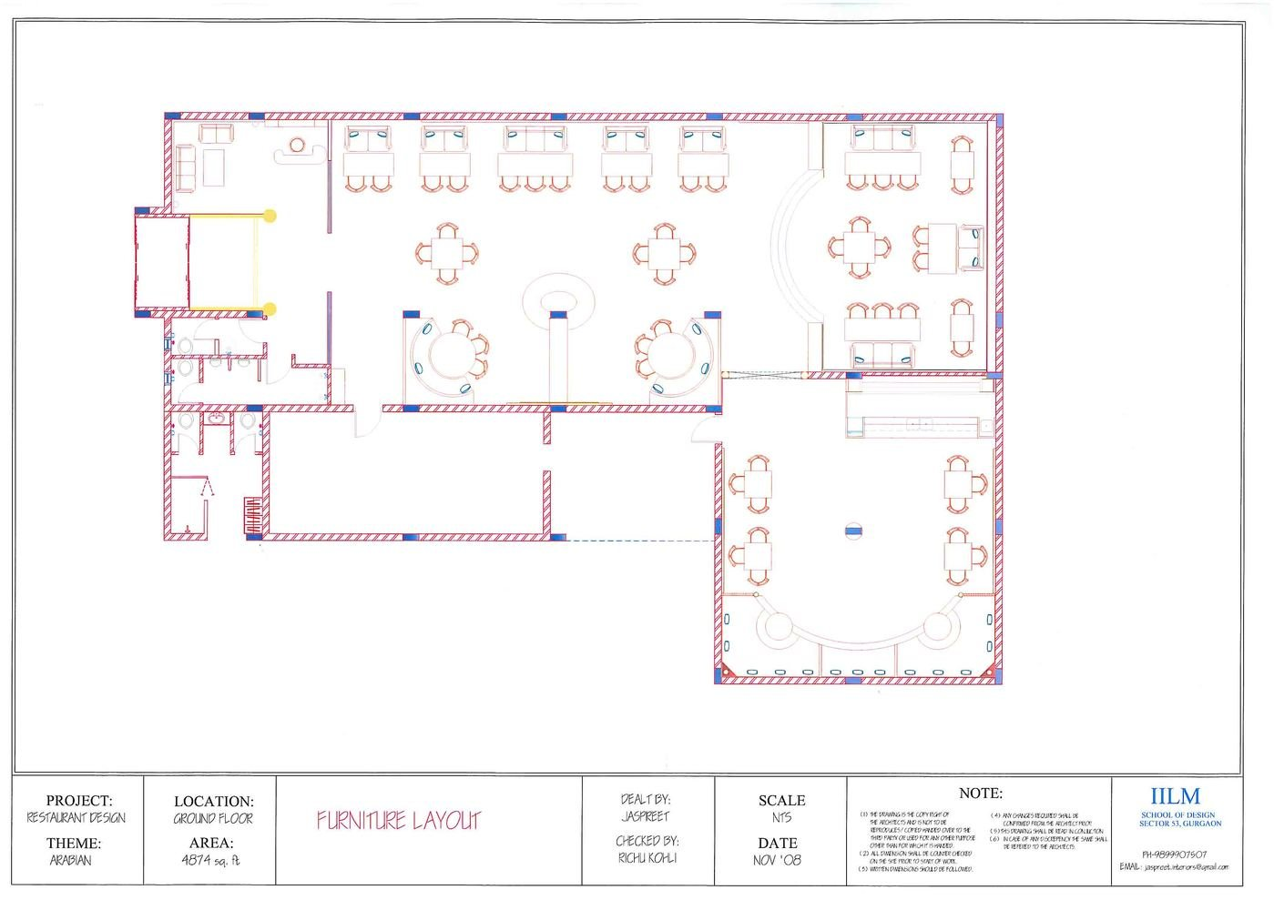 Design Project Restaurant Cum Bar By Jaspreet Kaur At 3d Electrical Plan