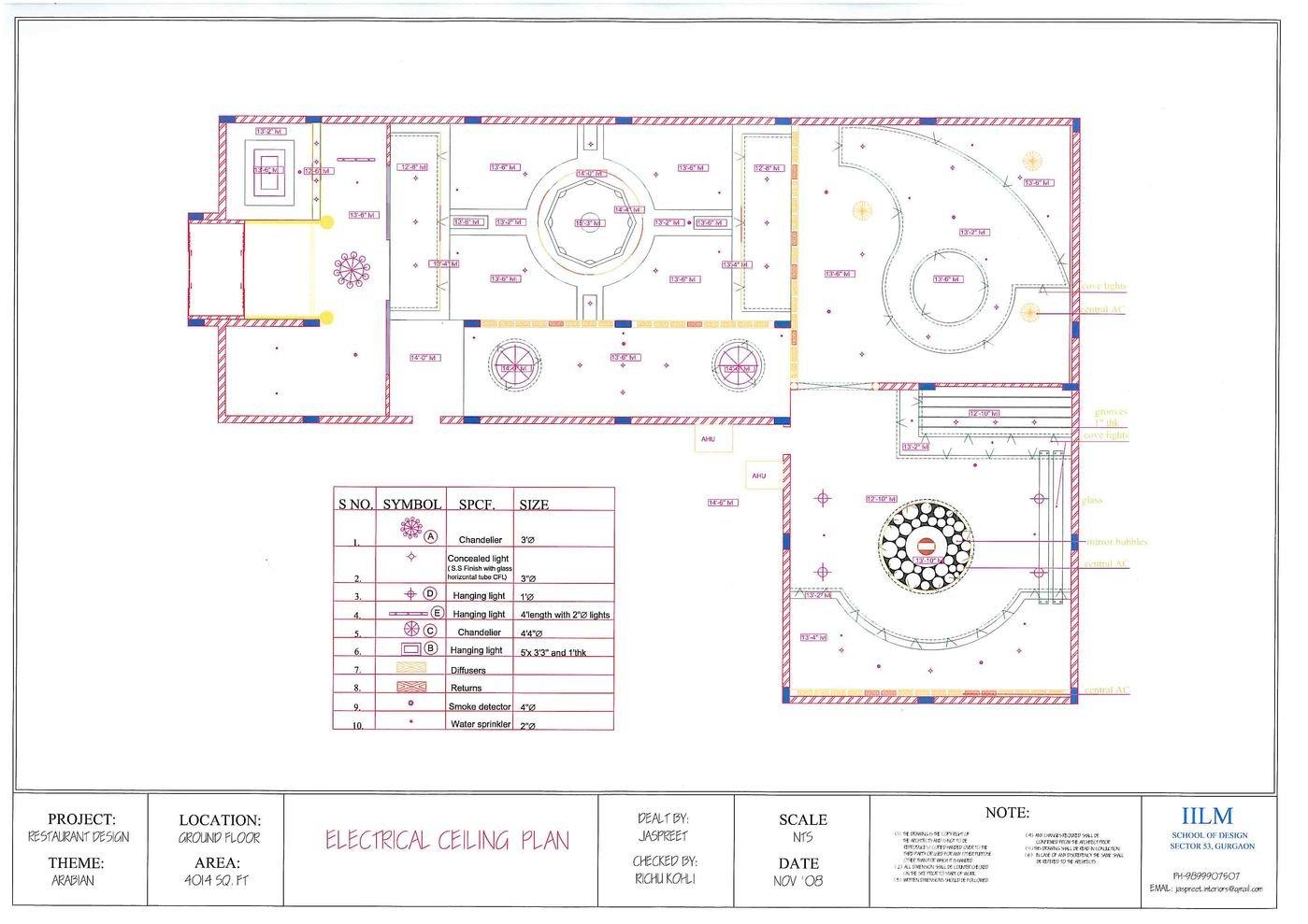 Design Project Restaurant Cum Bar By Jaspreet Kaur At Sample Of Electrical Plan Layout