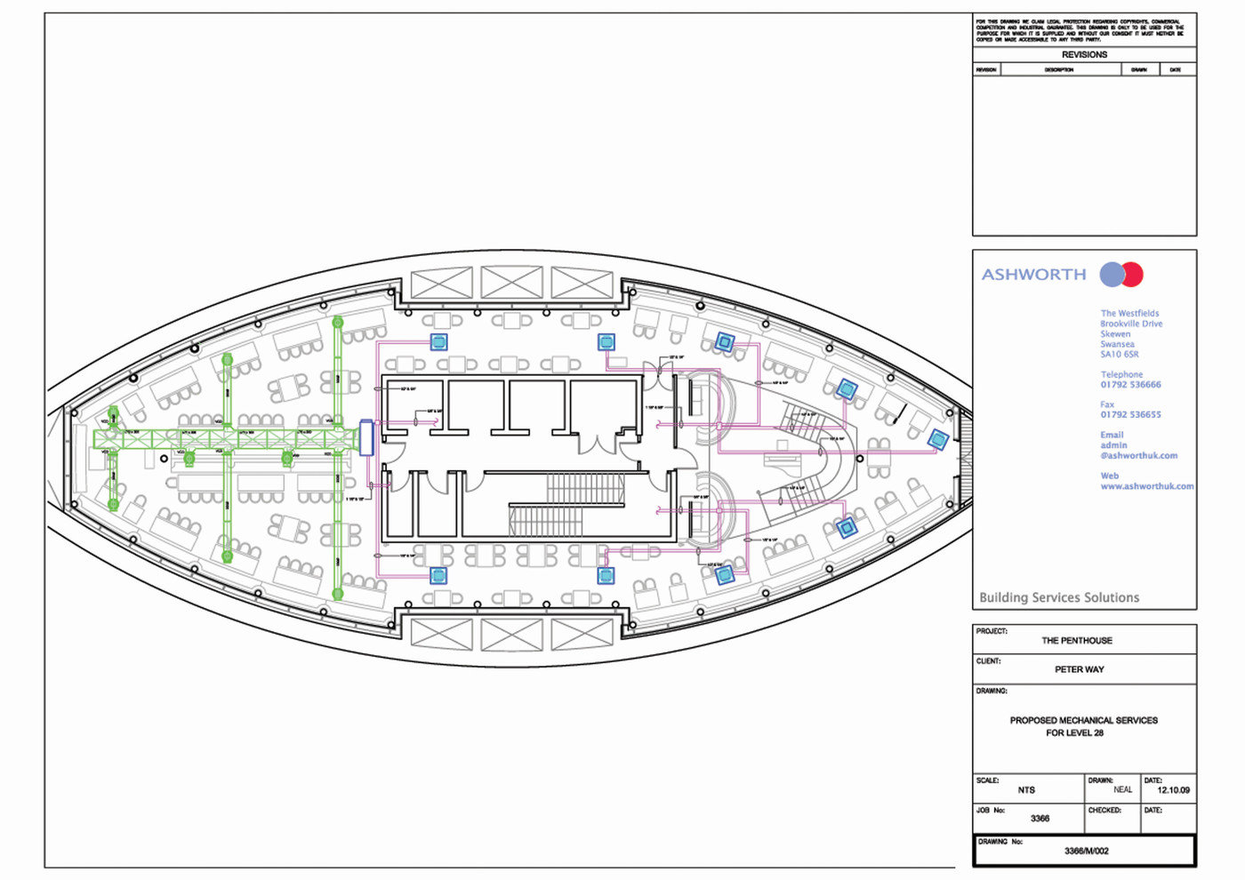 Technical Cad By Neal Thomas At Hvac Mechanical Drawing Swansea Penthouse Restaurant