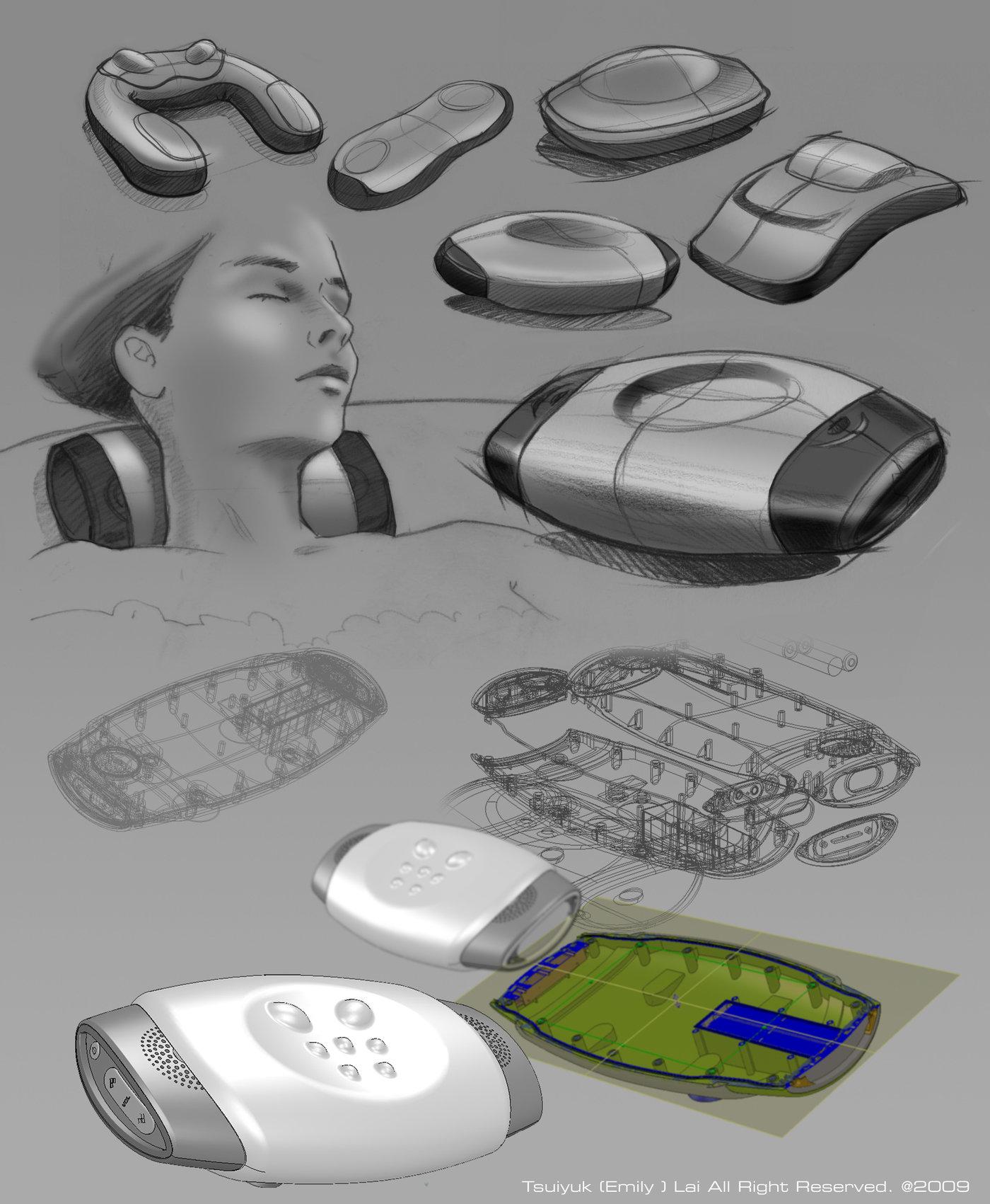 Waterproof Bath Pillow Speaker by Emily Lai at Coroflot.com