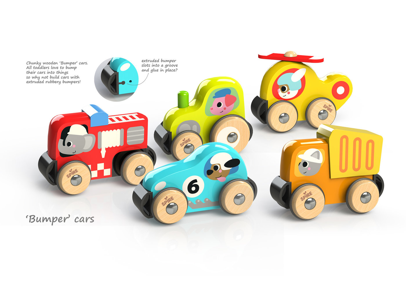 Bumpsters Range Of Chunky Wooden Toy Vehicles By Justin Worsley At Coroflot Com