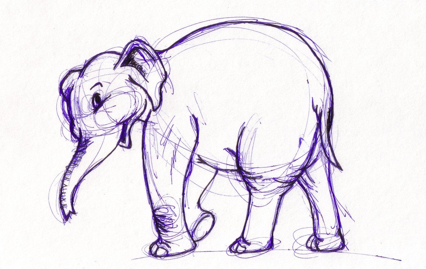 Various sketches smiling elephant characters based on other works and one of my own creations