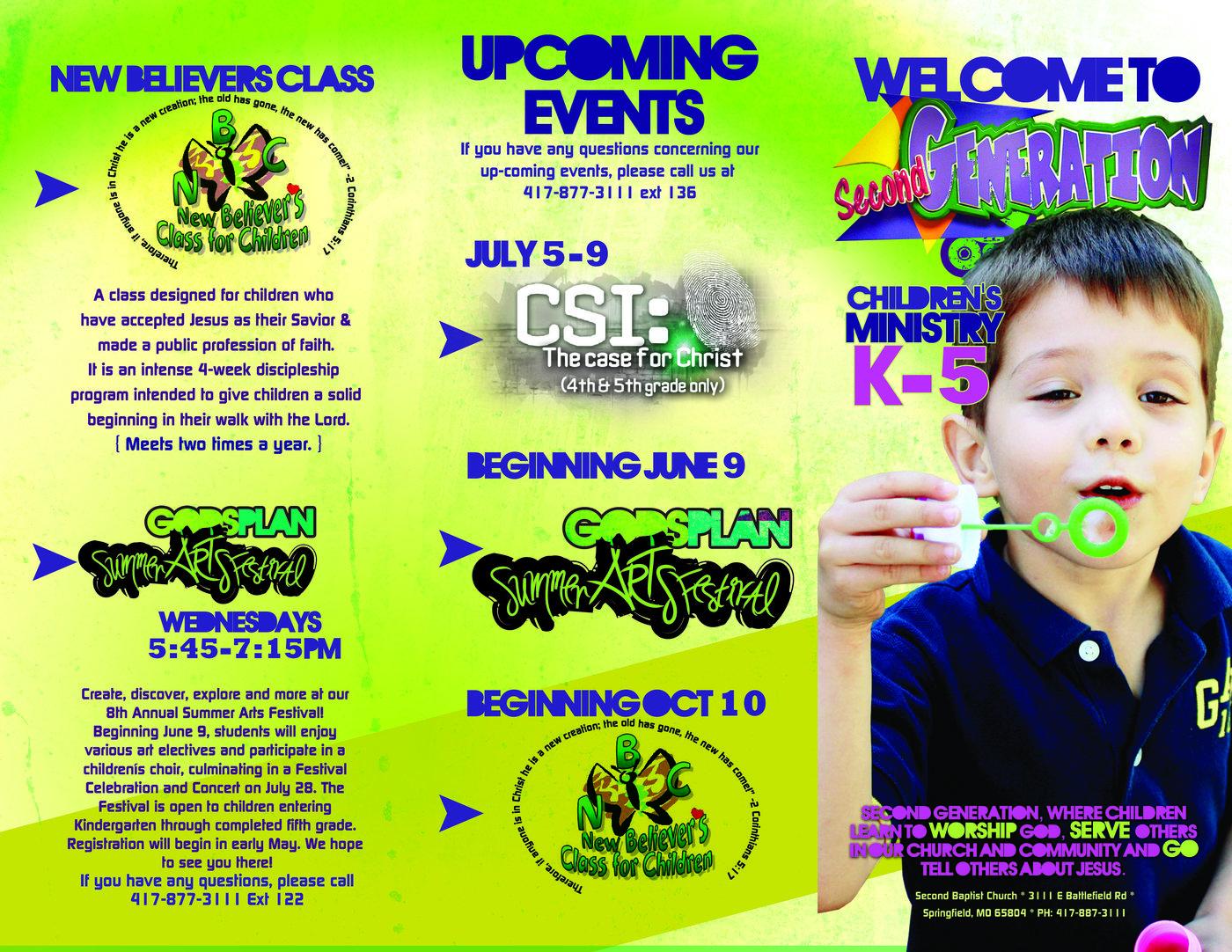 church kids area information brochure by leah kiser at coroflot com