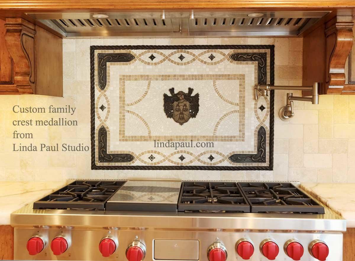 - Custom Family Crest Kitchen Backsplash Medallion From Linda Paul