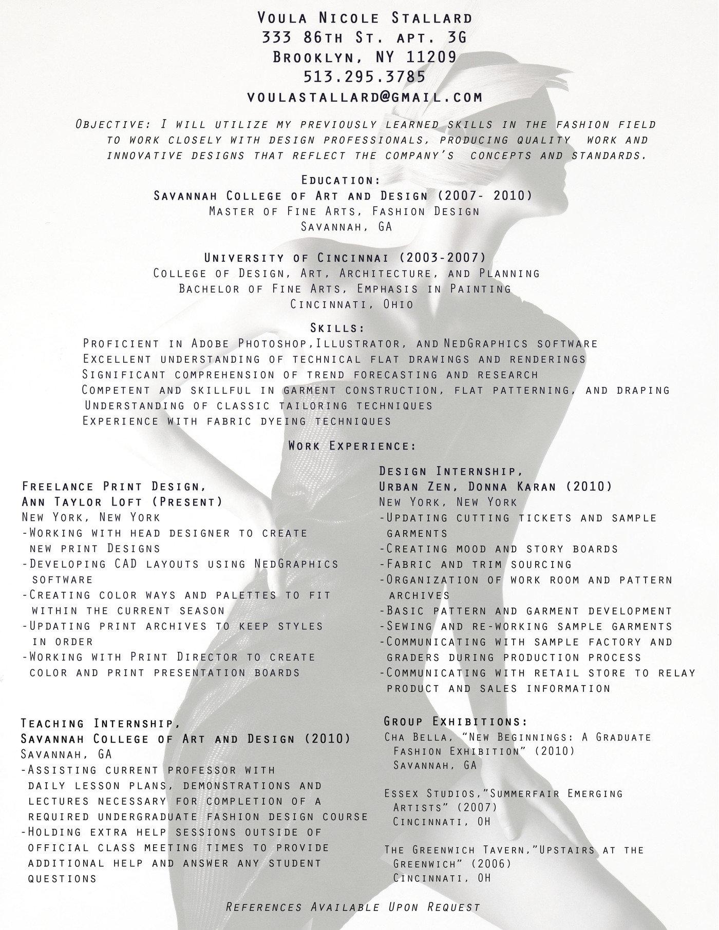 Resume By Voula Stallard At Coroflot Com
