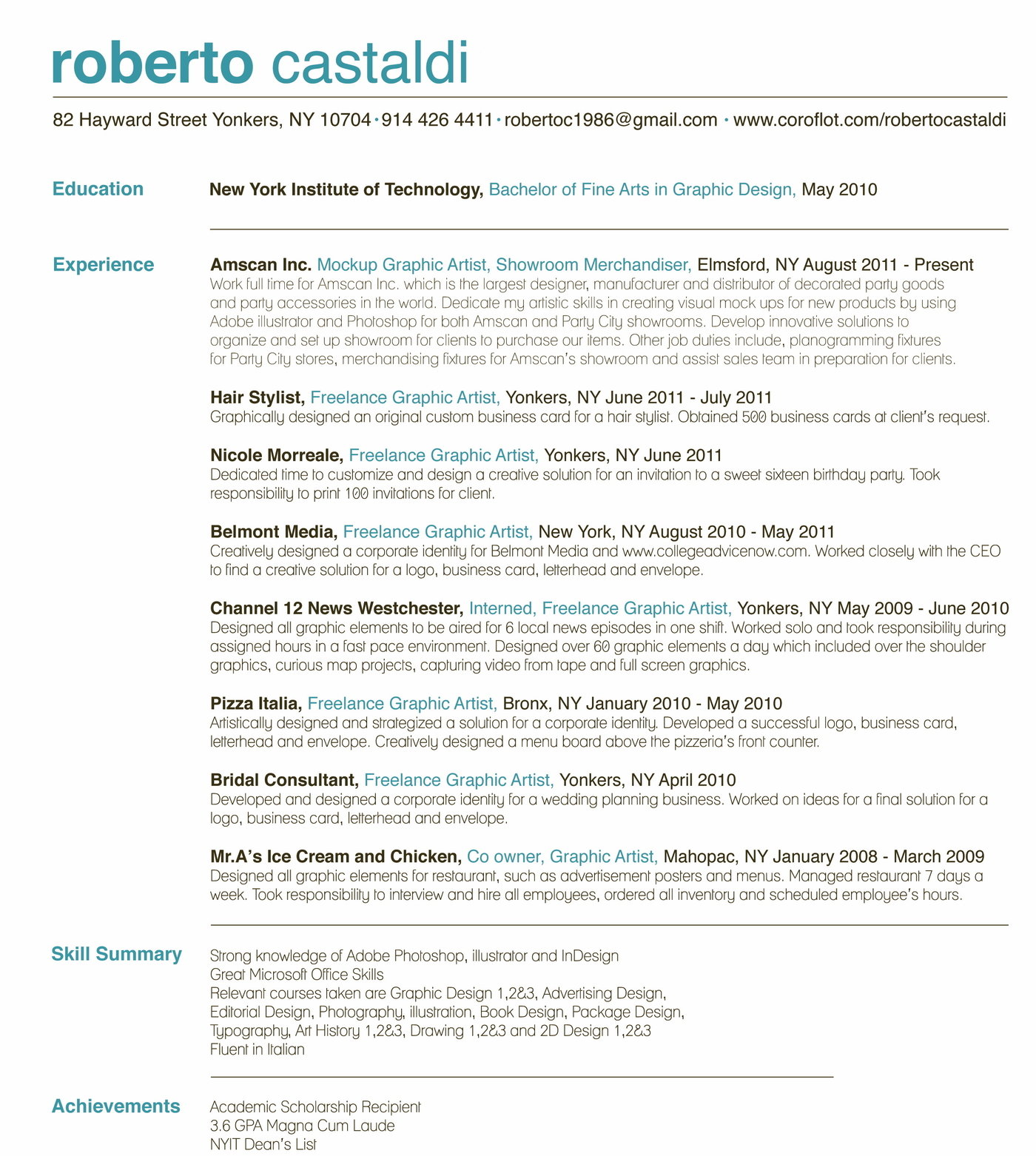 Roberto Castaldi Graphic Designer Resume By Roberto Castaldi At