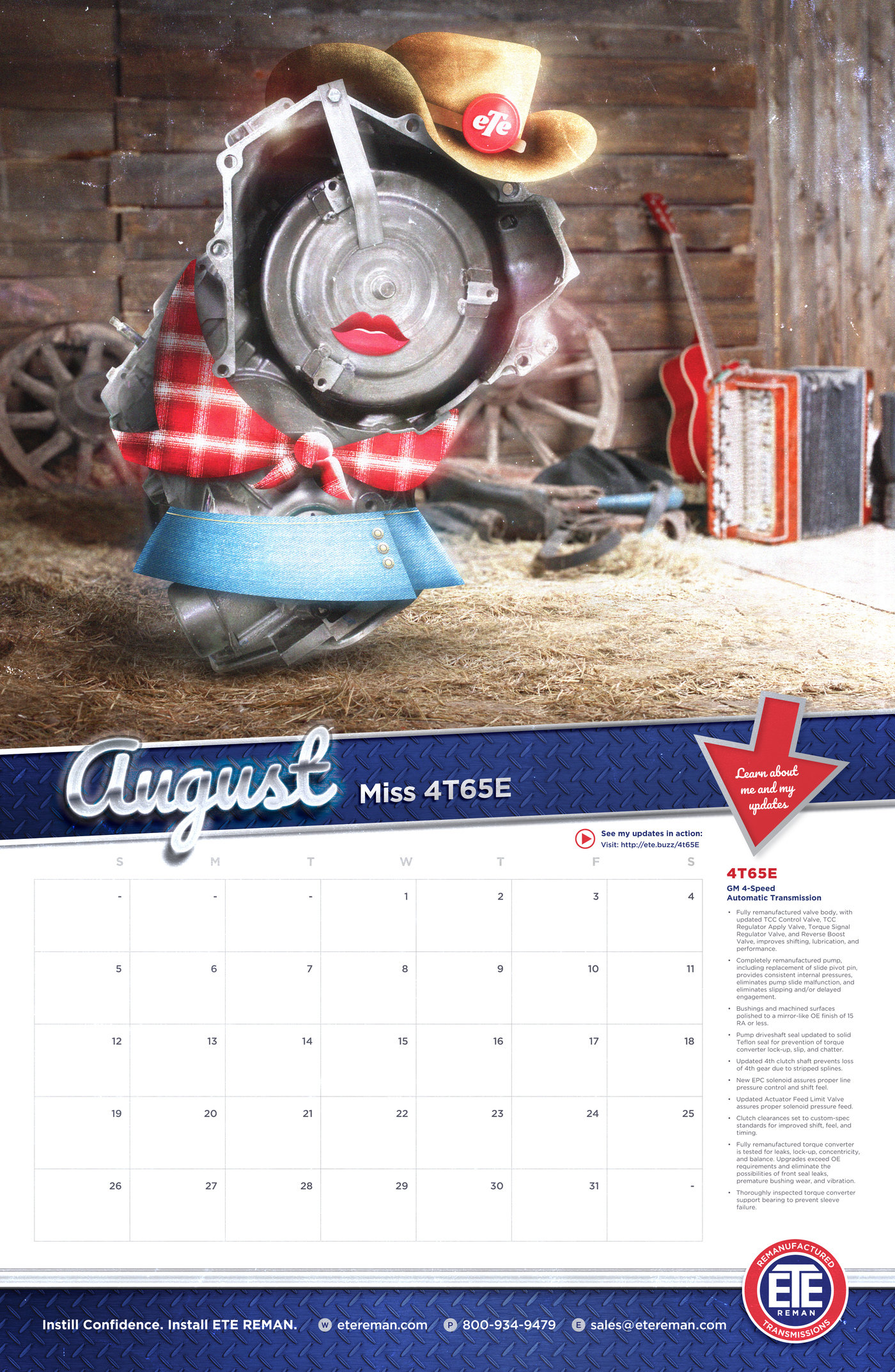 2018 Transmission of the Month Calendar by Billy Baldus at