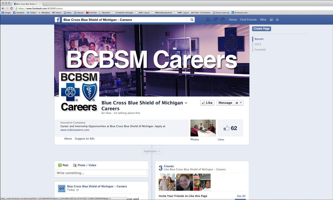 BCBSM Careers Social redesign by Michael Miller at Coroflot com