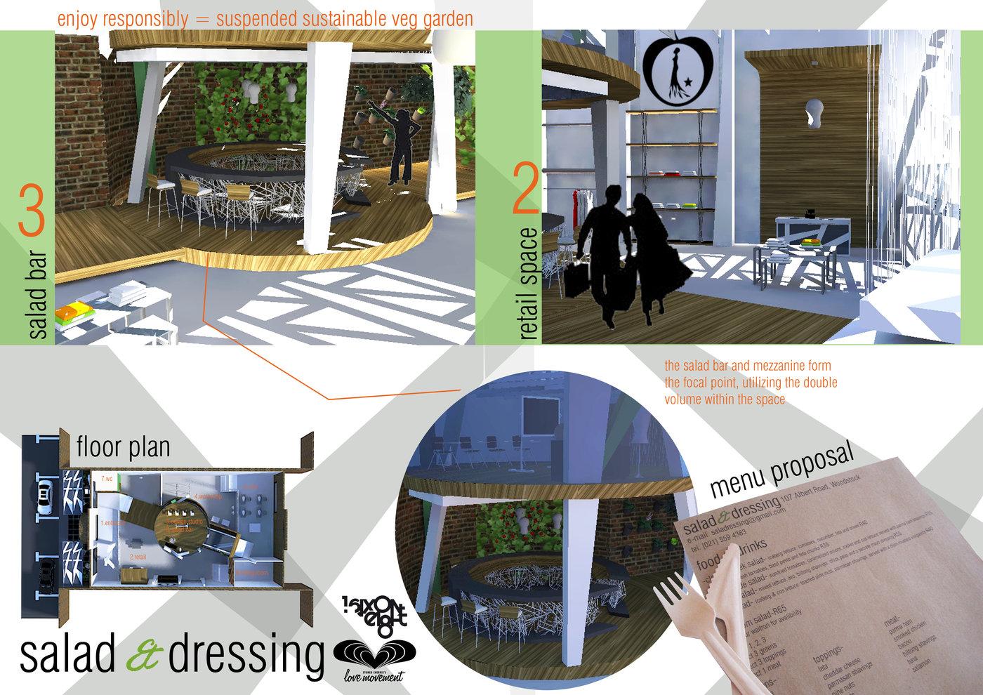 Plan Dressing En U retail design- salad & dressing- restaurant and clothing