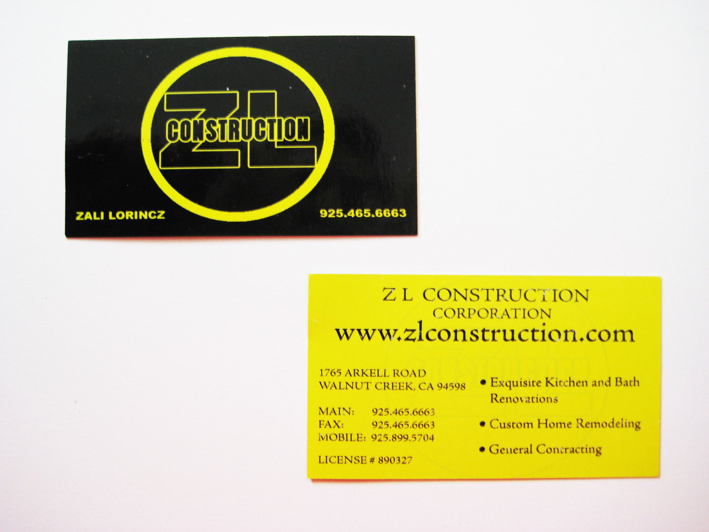 Business cards logos by jonathan niemuth at coroflot original zl construction business card this is the original design the client choose for his first run of business cards reheart Image collections
