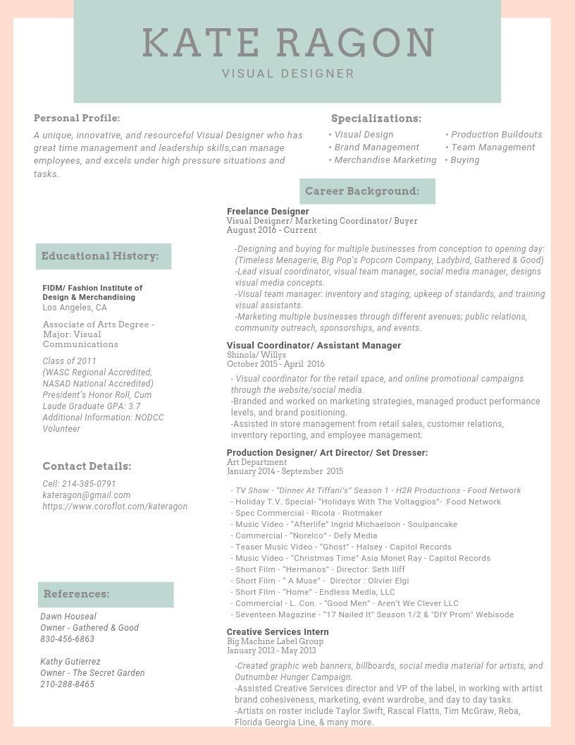 Resume By Kate Ragon At Coroflot Com