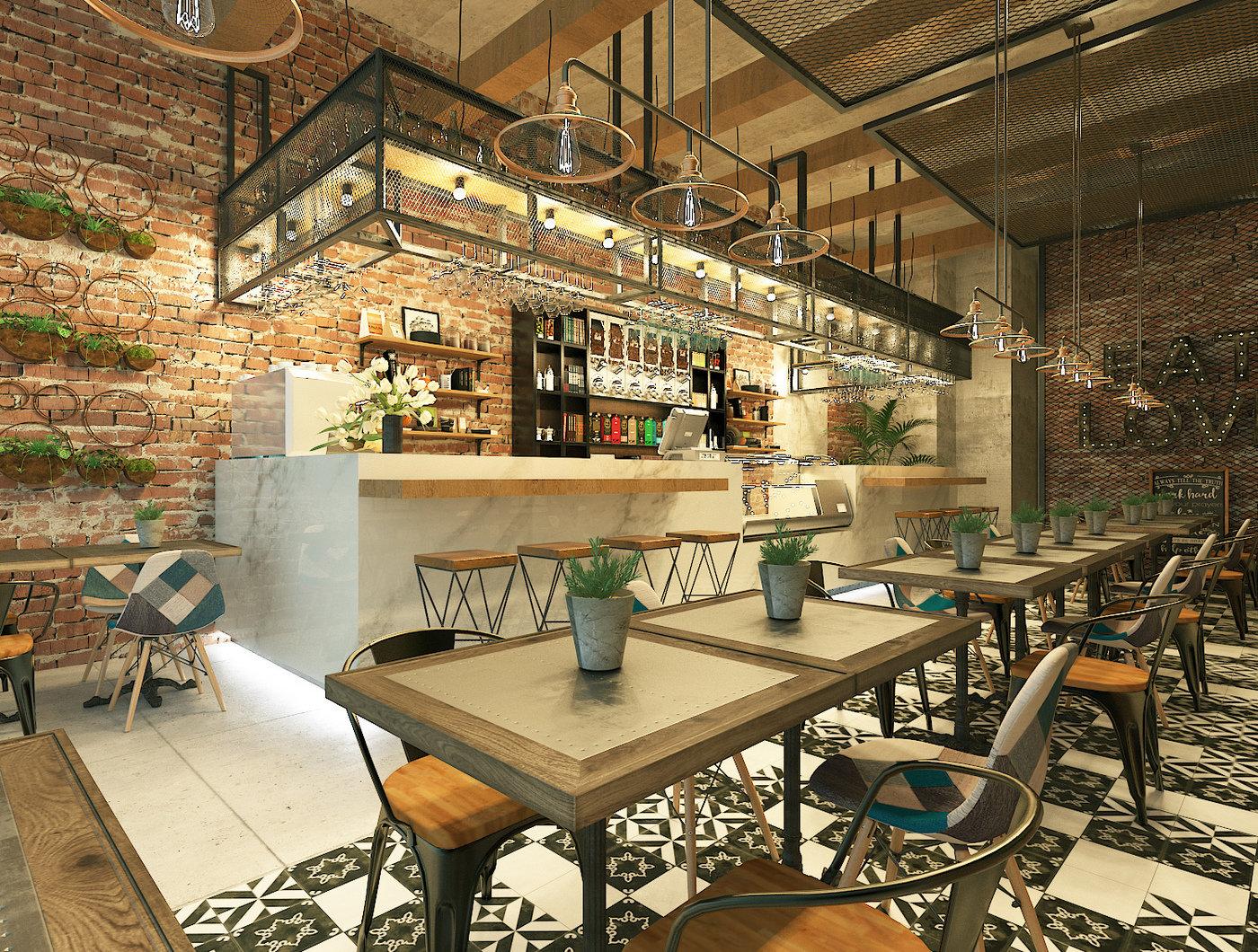 simple cafe design by Chrismas Ardianto at Coroflot.com