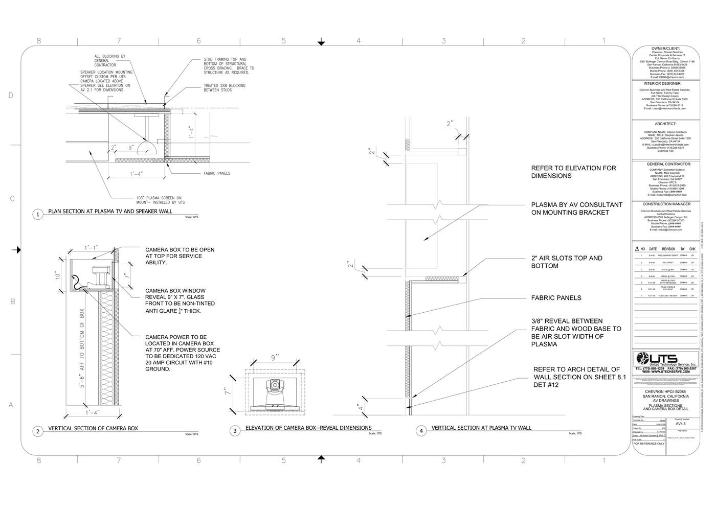 VTC AV Section Drawings - Sample of Section drawings showing the placement  and acoustical requirements for the AV equipment required in VTC Executive  ...