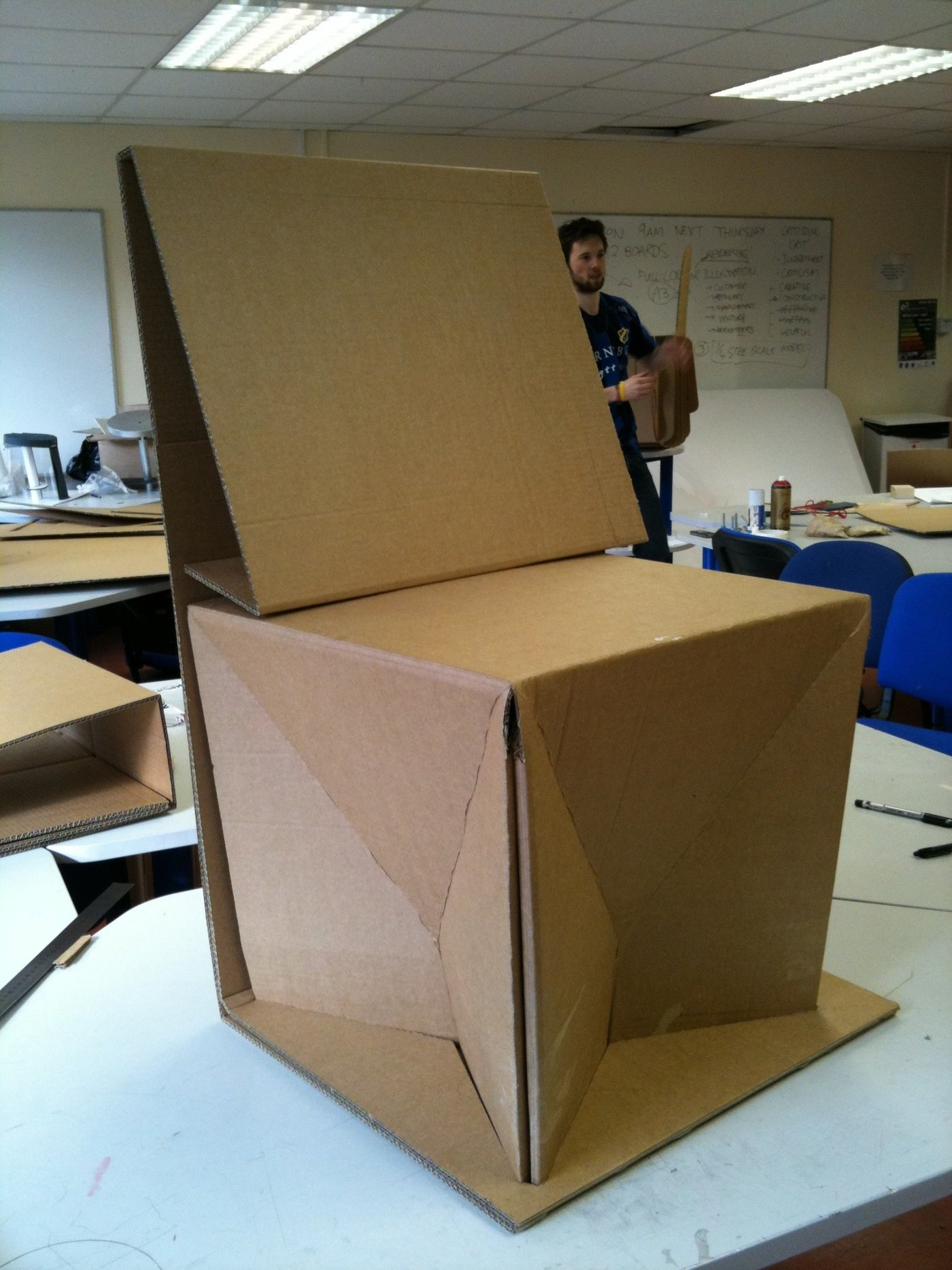 This Was A Project In Which We Were Put Into Groups Of 2 And Had To Design Chair Out Cardboard Using No Glue Or Adhesives Any Other Mechanical
