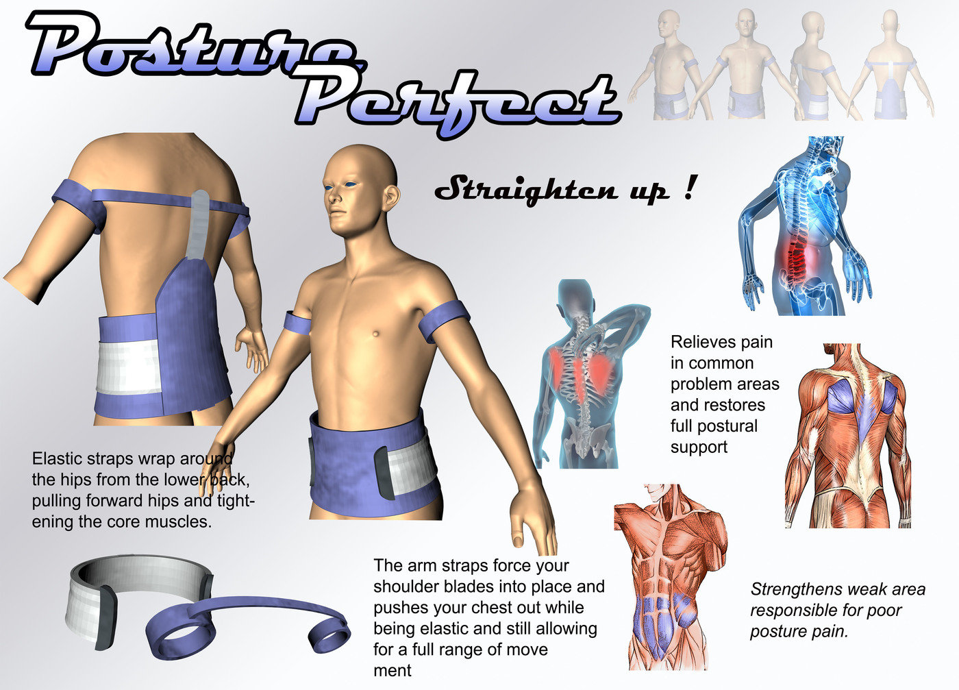 Posture Perfect Back Brace By Ian Leonard At Corrector Shoulder Elastis