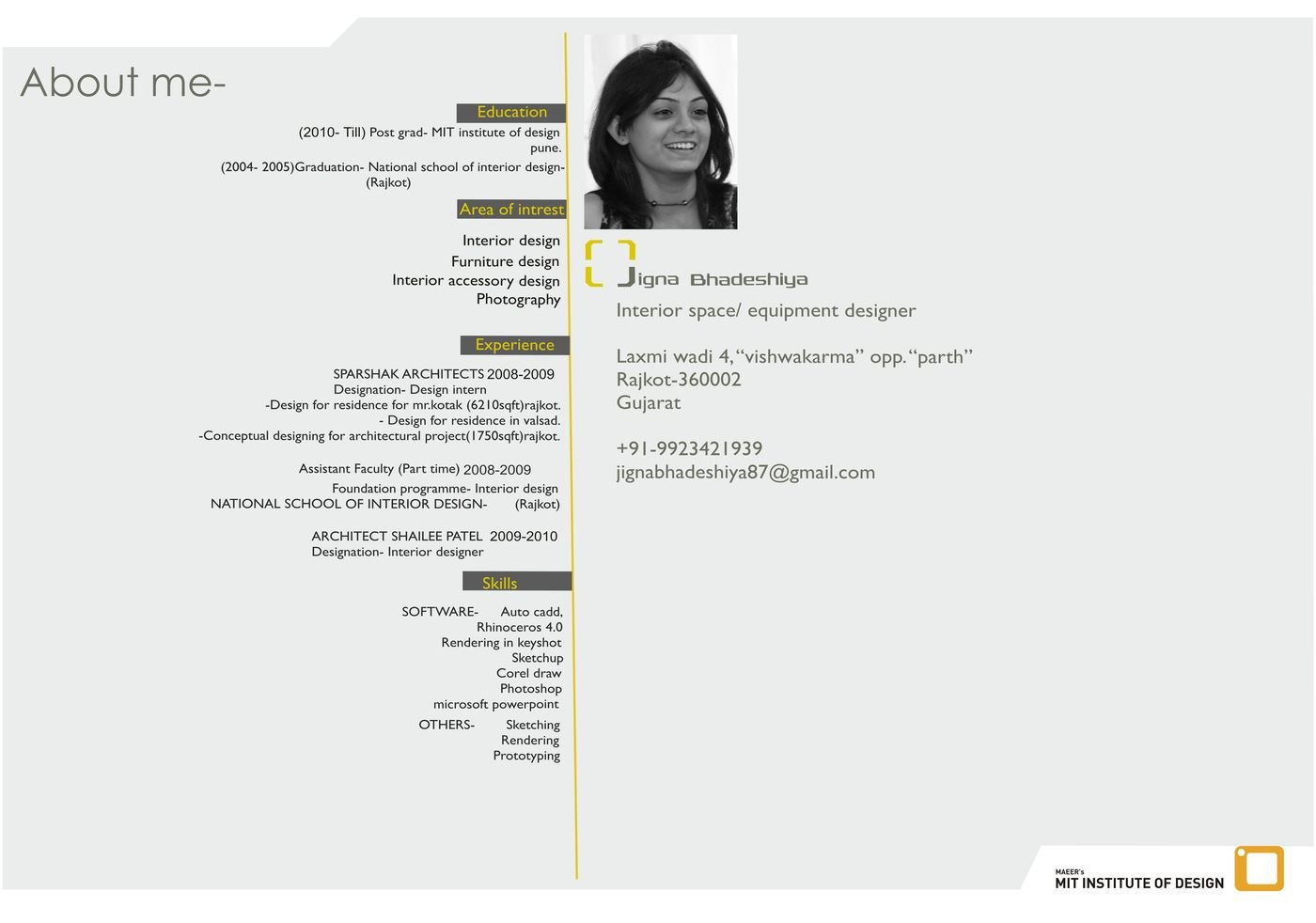 Resume By Jigna Bhadeshiya At Coroflot Com