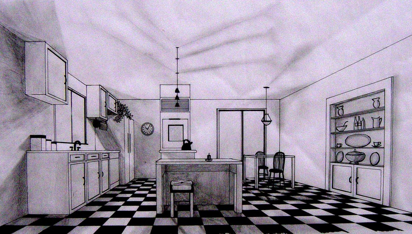 Perspective sketch kitchen dining drawn with pencil and ink