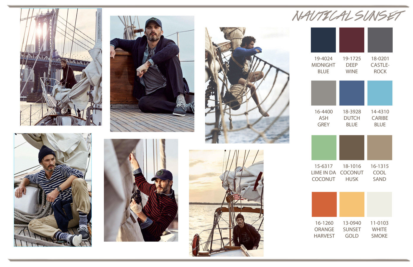 Holiday 2017 Mens Concept Board Nautical Sunset By Kristel Soriano Galima At Coroflot Com