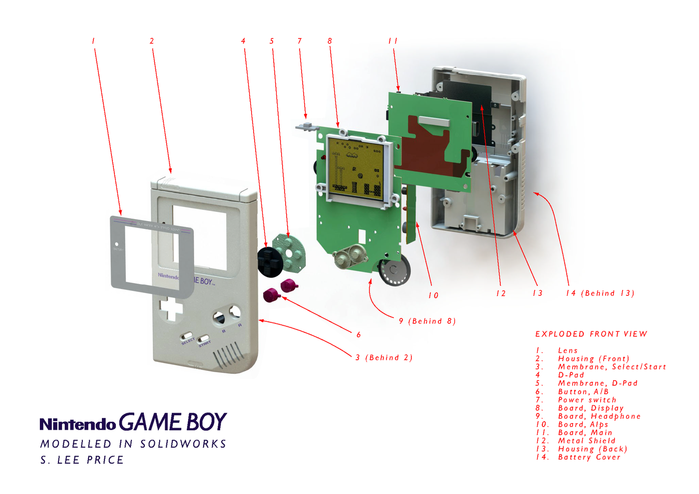 Game Boy - SolidWorks Model by S  Lee Price at Coroflot com