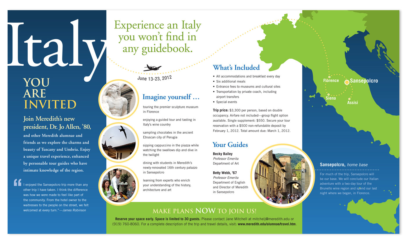 italy travel brochure created for meredith college collaborated with colleagues to create a new brochure for the alumnae travel program original design