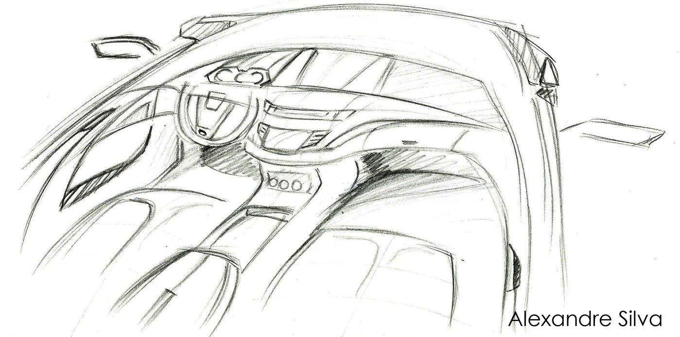 interior sketch car by alexandre felipe ribeiro da silva