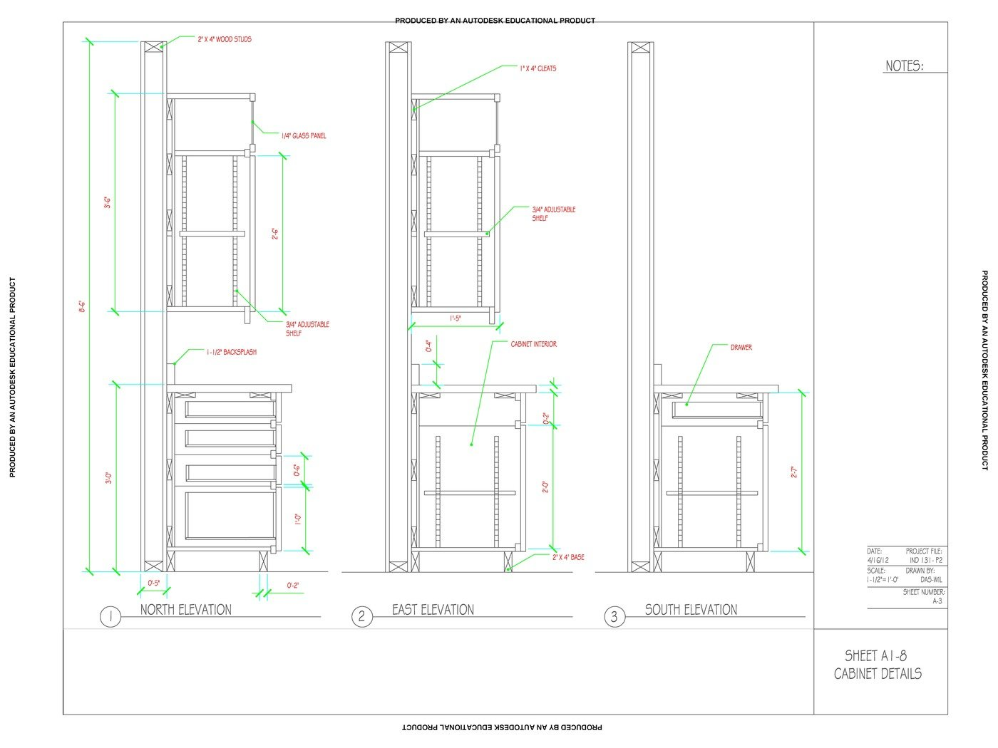 CAD Detail Drawing of Kitchen Cabinets by Dashawn Wilson ...