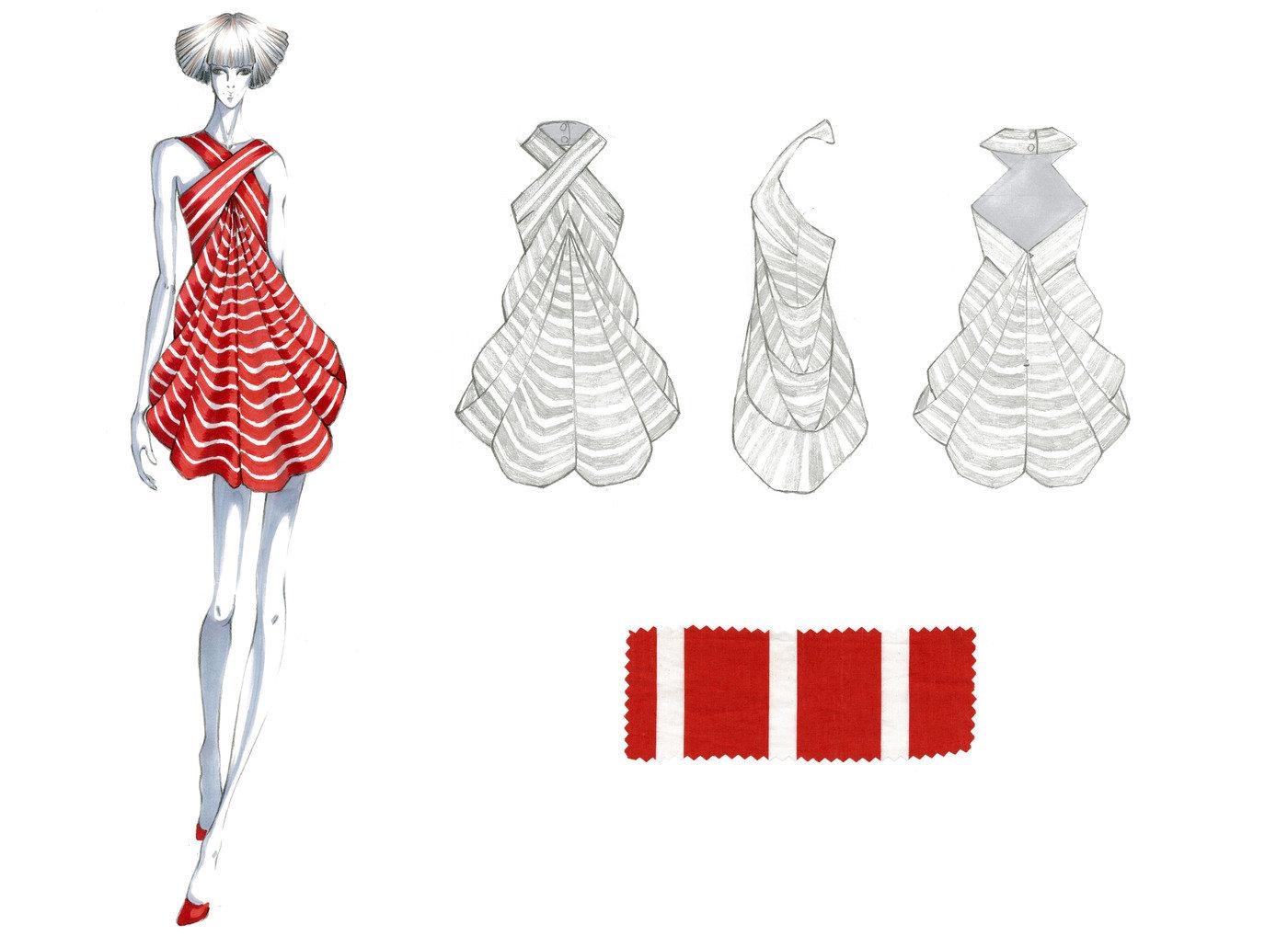 Stripe Drape Dress Project By Zhe Hou At Coroflot Com