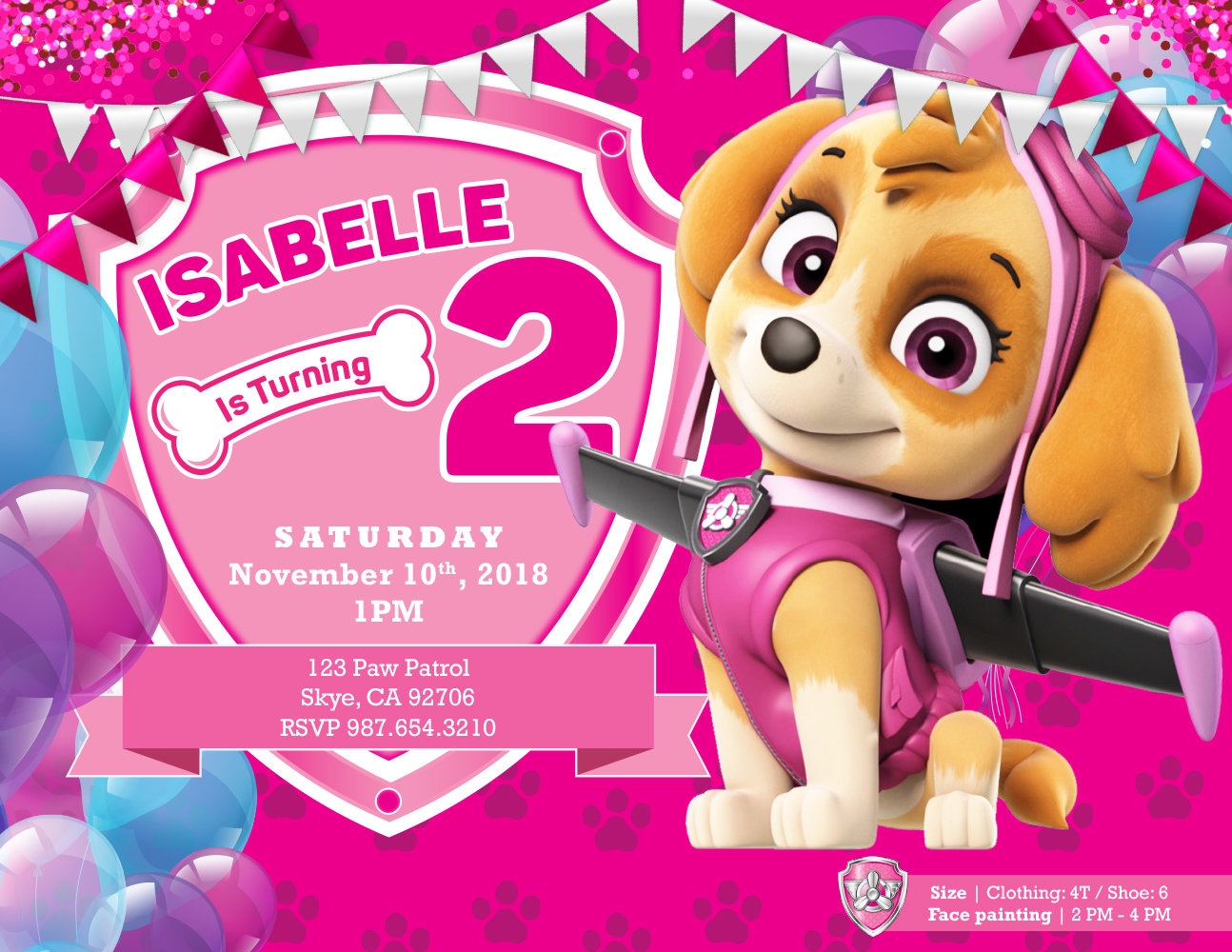 PAW Patrol Skye Birthday Invitations