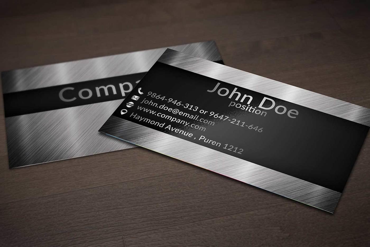 creative business card design on brushed metal background