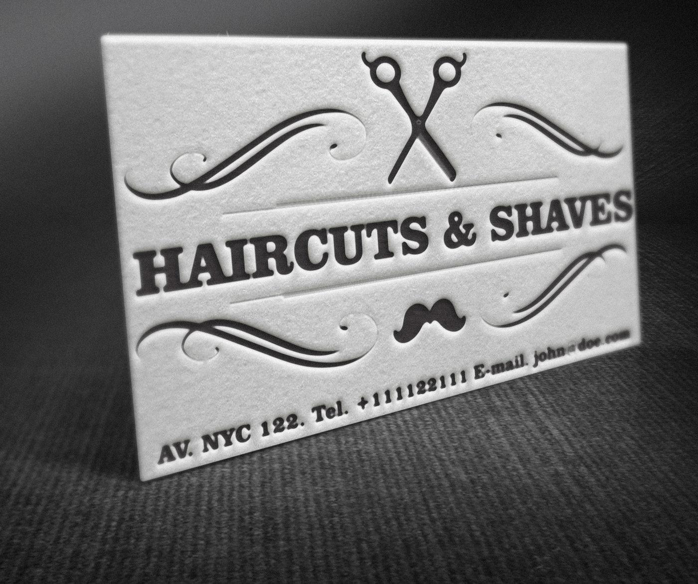 Letterpress barber shop business cards free template by borce share colourmoves