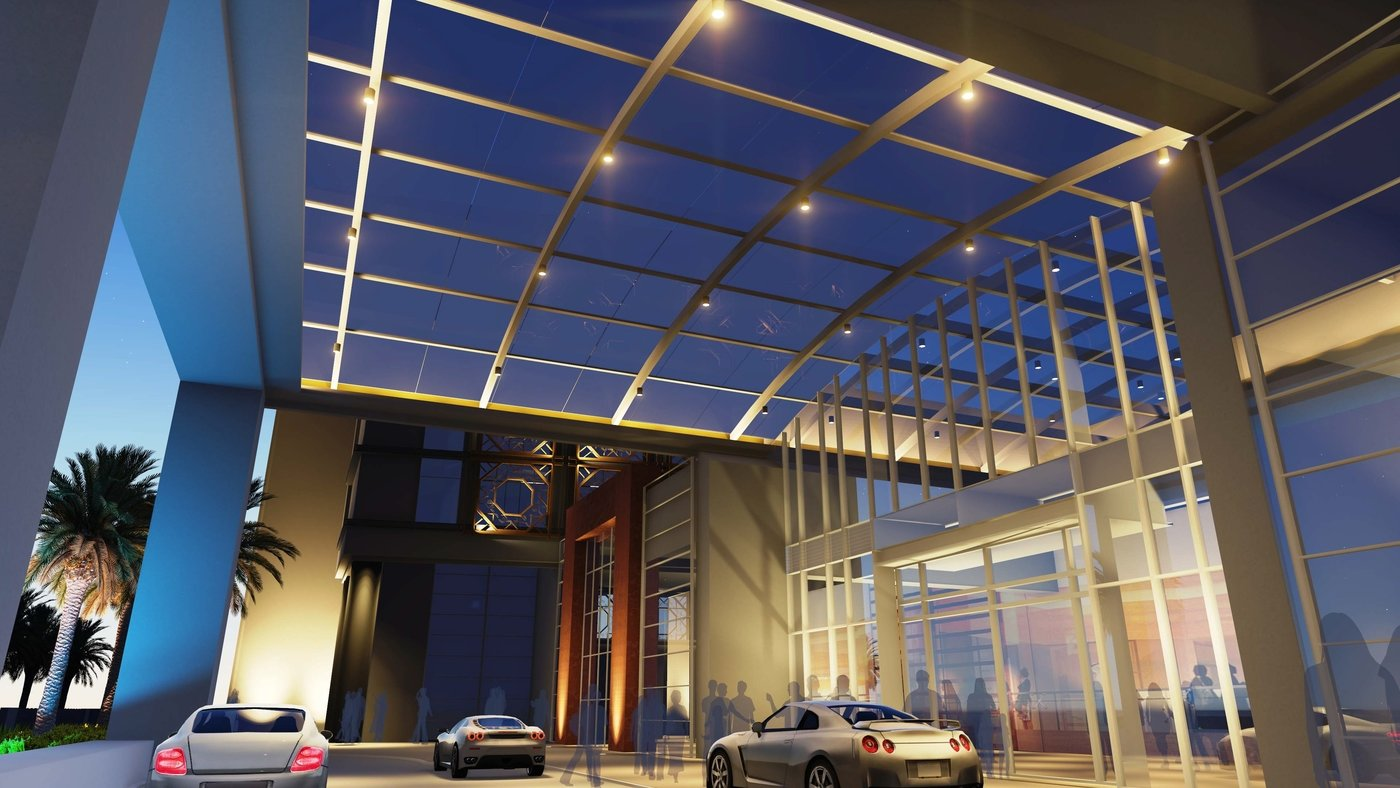 Hotel Facade Amp Drop Off Area Lighting By Matthew