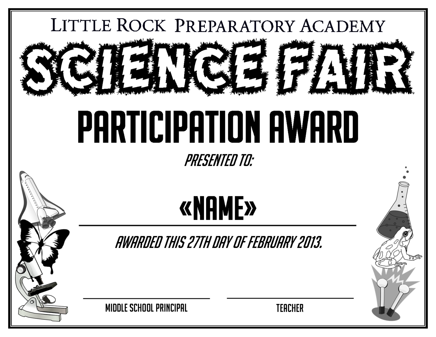 certificate created for all participating students in the 2013 middle school science fair