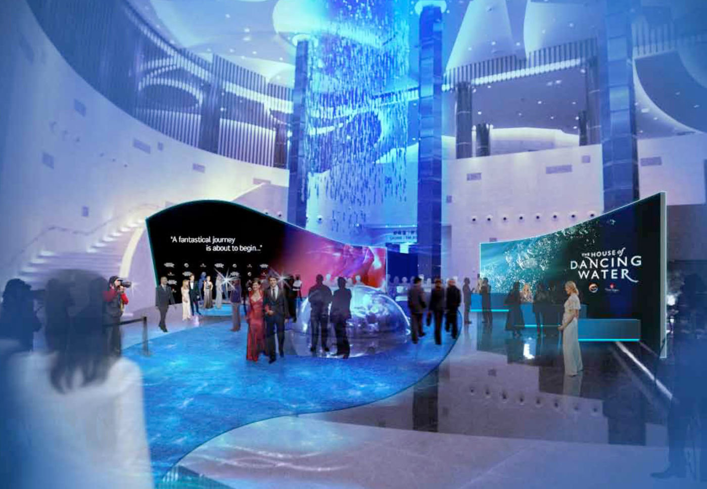 Fabric Exhibition Stand Qatar : Event house of dancing water launch party by rob