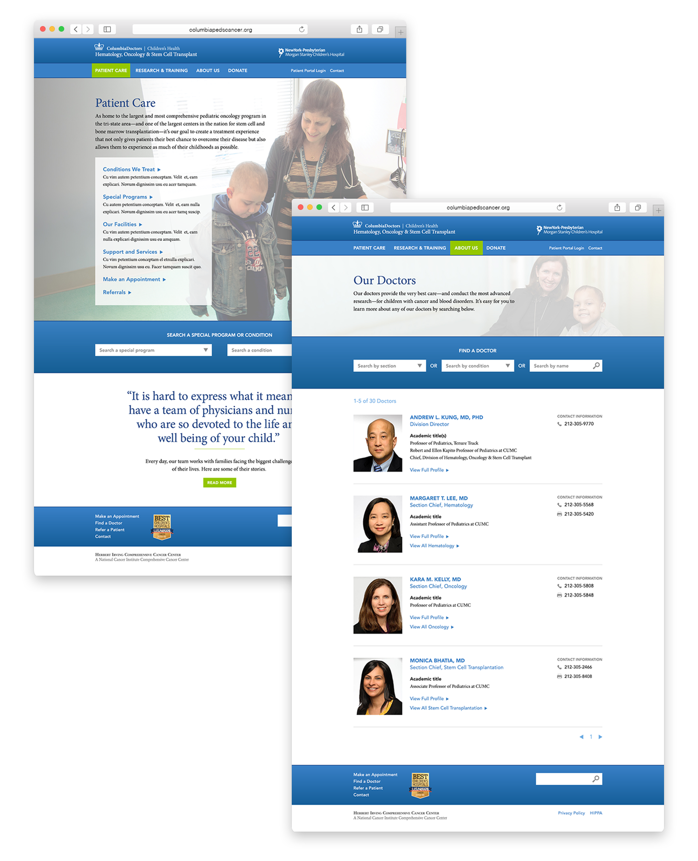 Columbia University Medical Center Website by Hilary Ford at