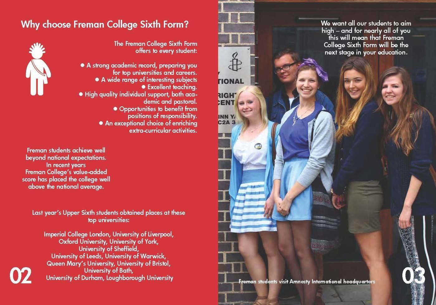 freman college sixth form prospectus by chris allan at coroflot com