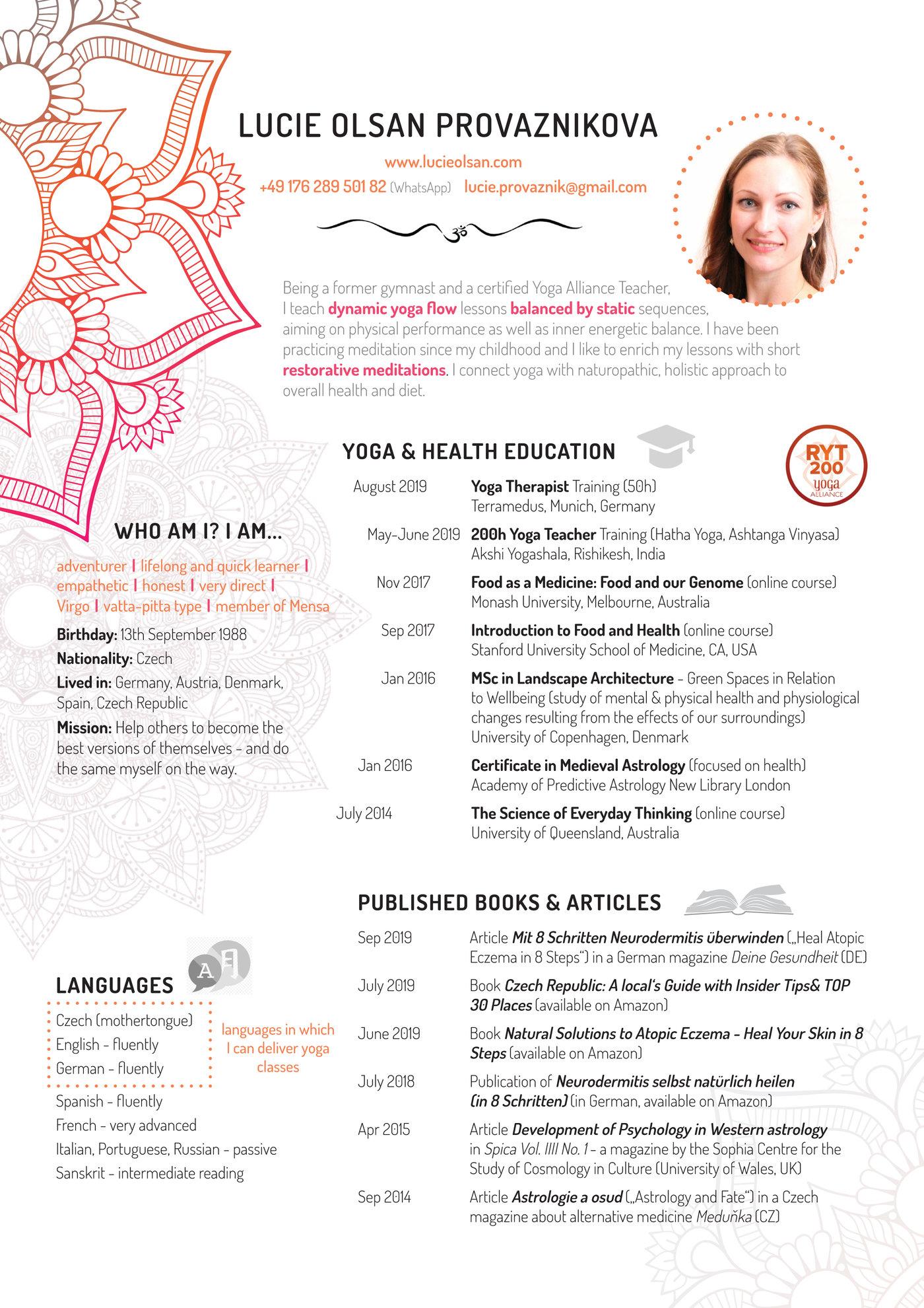 Resume Design Yoga Teacher By Lucie Provaznikova At Coroflot Com