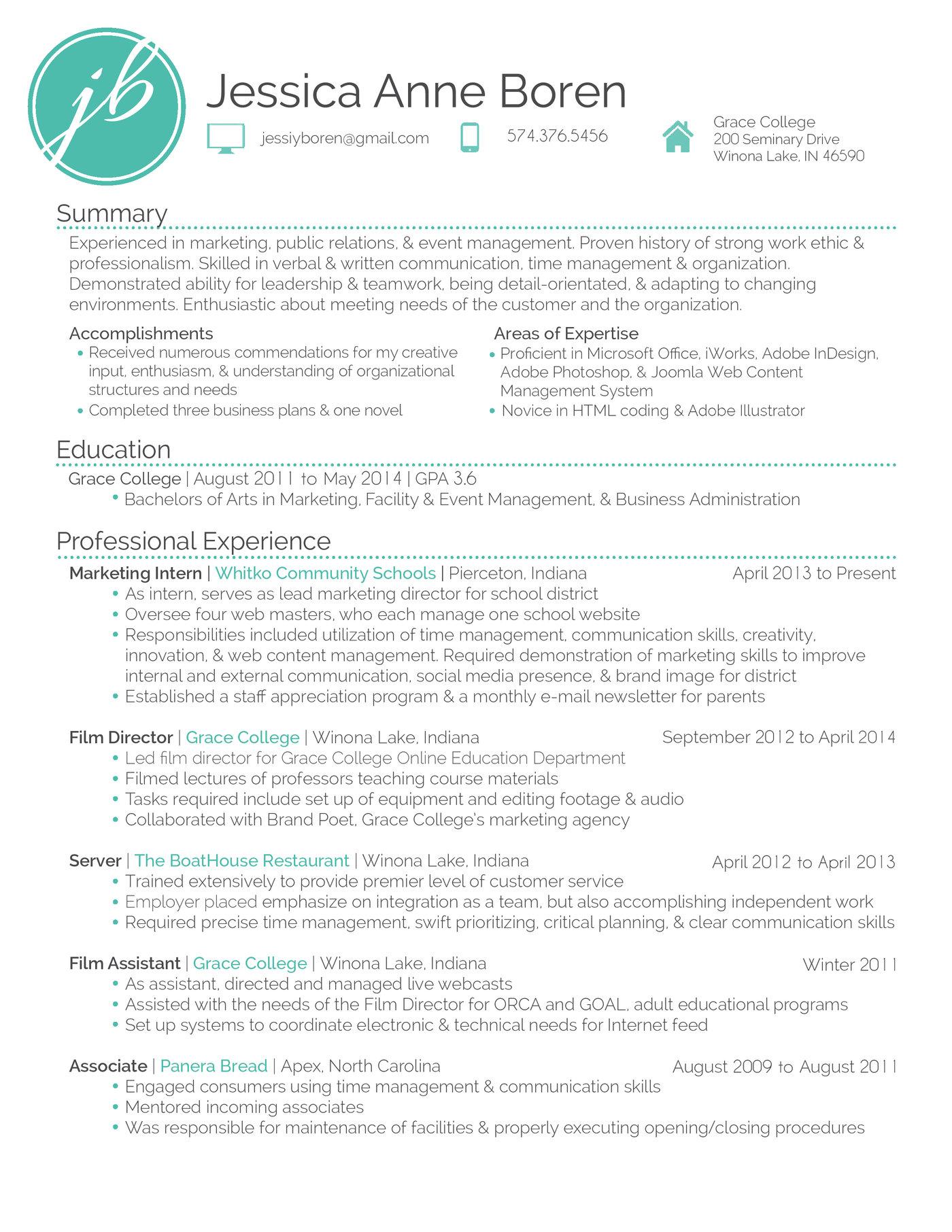 My Resume By Jessica Anne Boren At Coroflot
