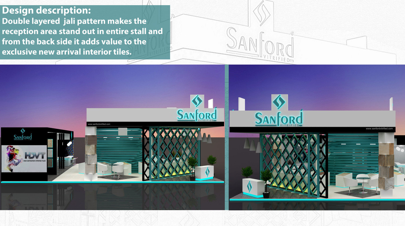 Exhibition Stall Reception : Exhibition stall design option for sanford vitrified by vaidehi