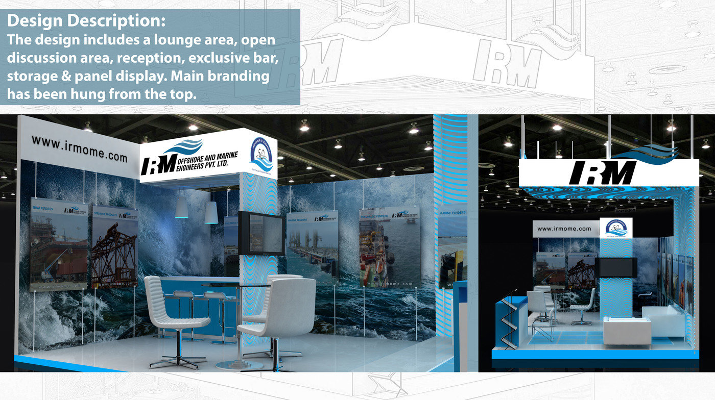 Exhibition Stall Reception : Exhibition stall design for irm offshore pvt ltd by vaidehi oza at