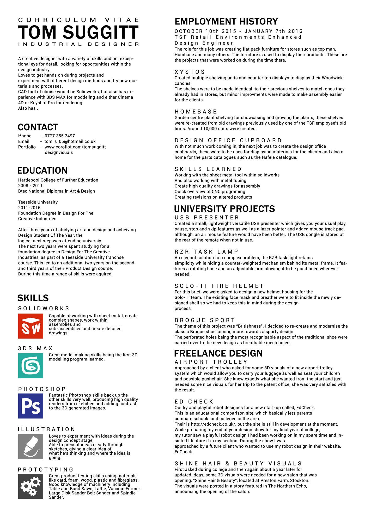 My CV by Tom Suggitt at Coroflot com
