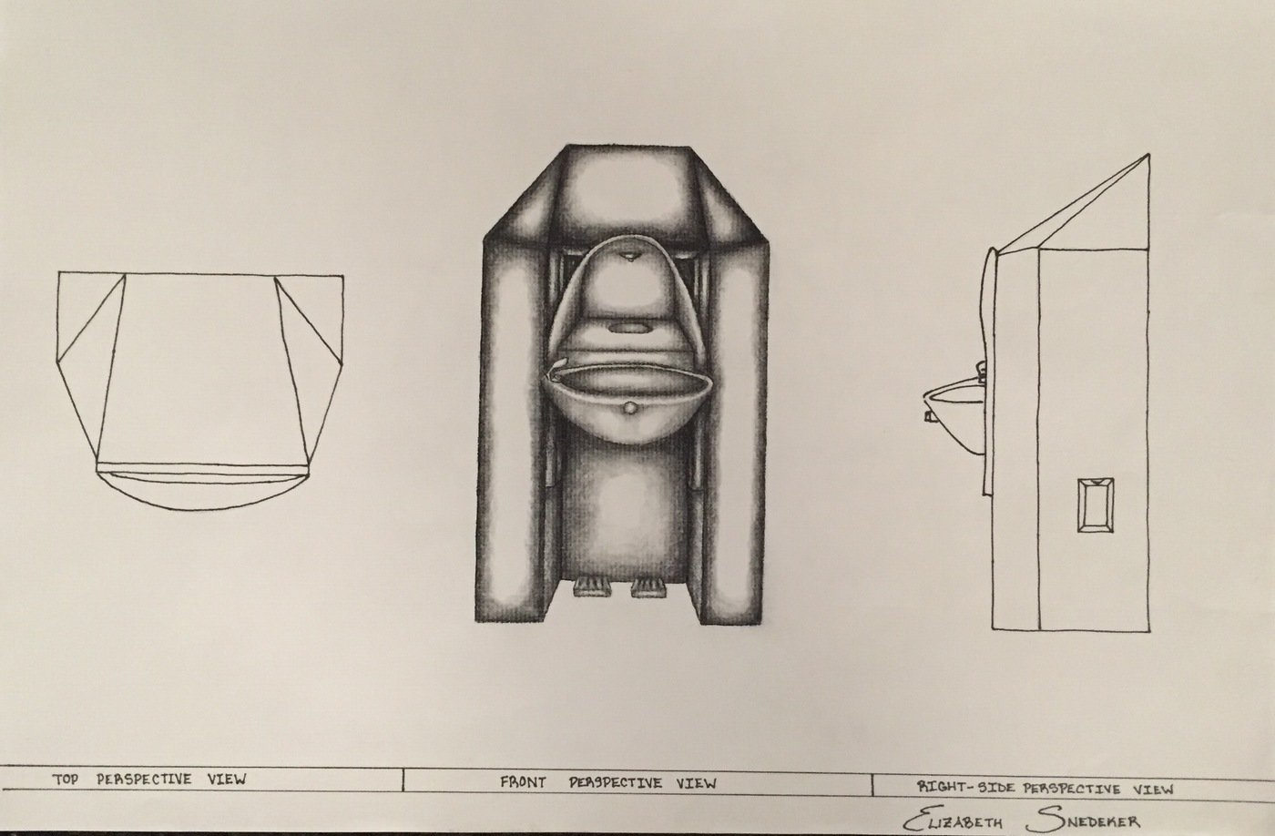 Perspective Water Fountain Drawing
