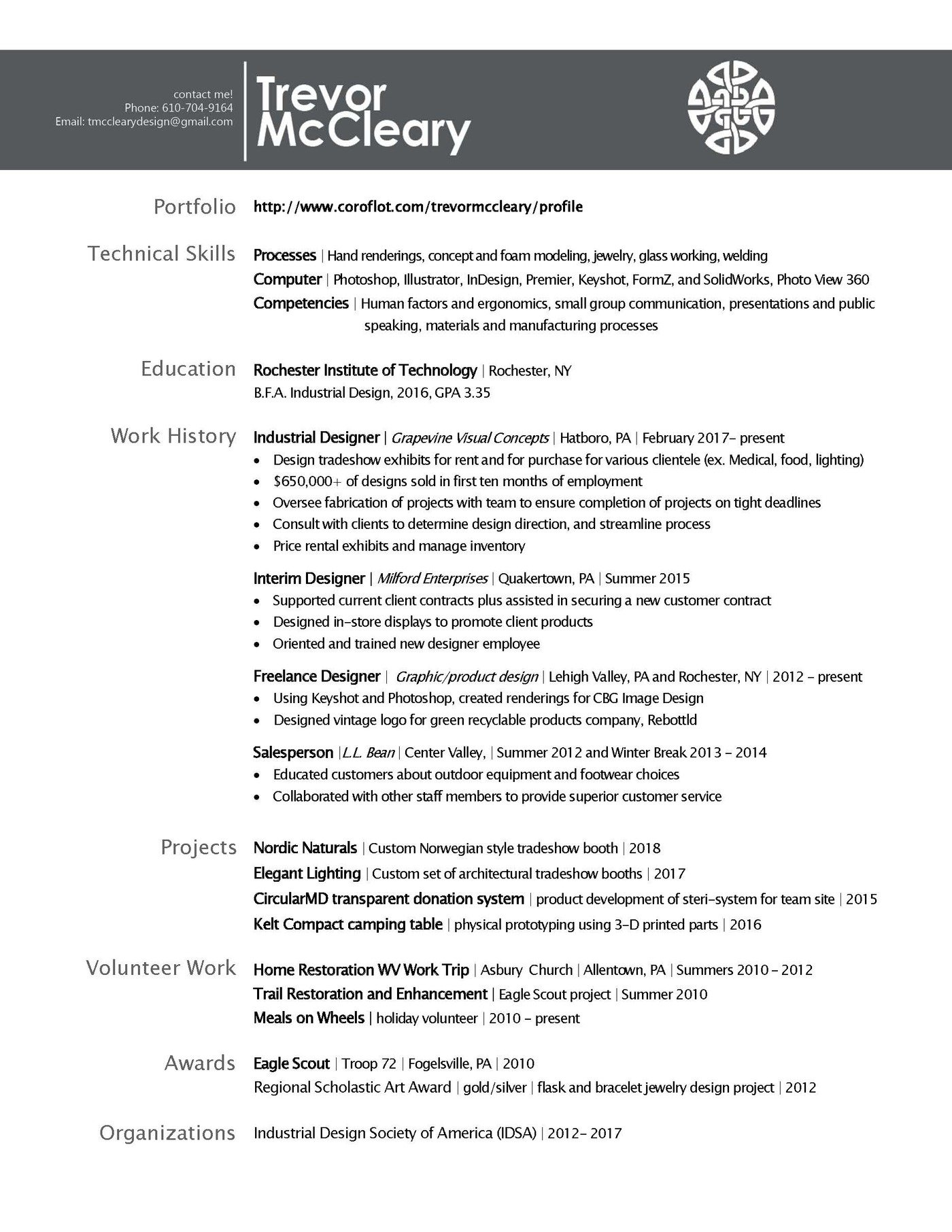 design resume by trevor mccleary at coroflot com