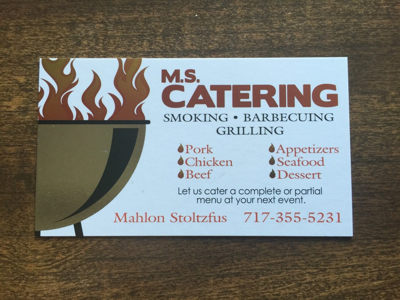 M.S. Catering Business Card by Patrick Pokrop at Coroflot.com