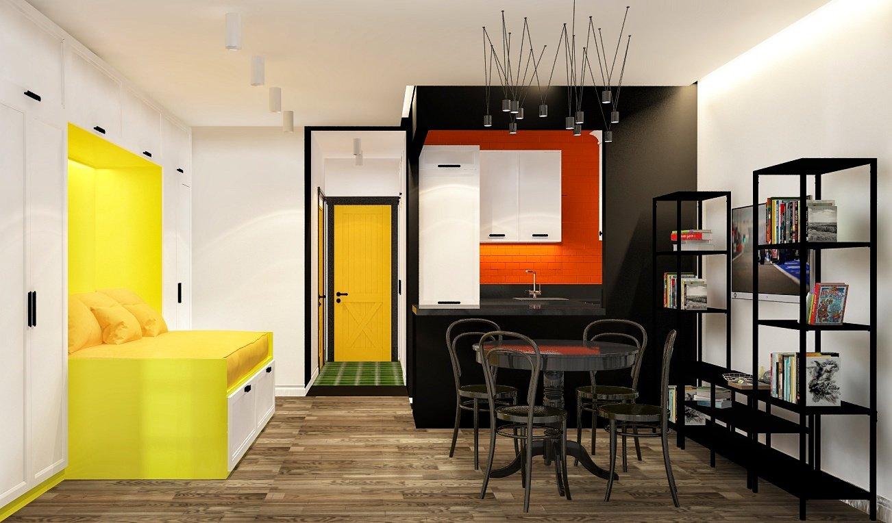 "Design project apartment "" Black, white, red"".  Дизайн - проект"